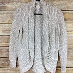 Chicos Cardigan 0 Open Sparkle Cacoon Gray White